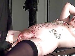Stapled slaveslut in hardcore bdsm and pussy pain
