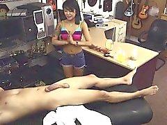 amador asiático masturbação