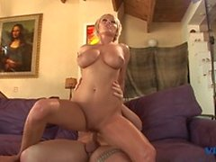 Sexy blonde slut masturbates before titty fucking, sucking and big cock fucking