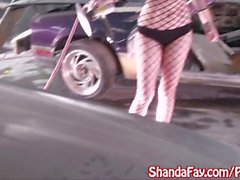 Milf Shanda Fay Gets Off in Car Shop!