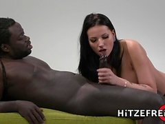 HITZEFREI Busty German slut loves big black cock