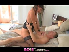 Love Creampie MILF business woman in stockings loves her husbands fat cock