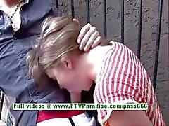 Rachel naughty brunette girl doing blowjob