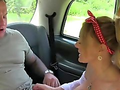 Huge tits cab driver sucks and fucks in public