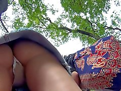 Upskirt Voyeur Open Legs Thong and Lips