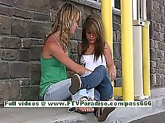 Rilee and Sara lovely lesbians kissing and flashing tits in public