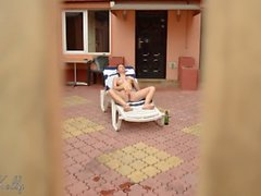 Spying my neighbor while tannin, pee and masturbate her grool gushing pussy