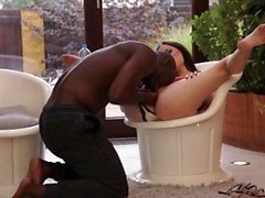 BLACK4K. Manager in fitness center seduces black muscled...