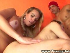 big tits blowjob threesome