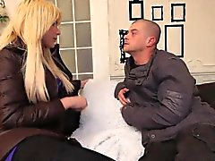 Gorgeous tranny assfucked for cash