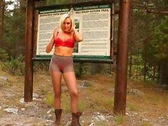 blonde forest tease amateur outdoor