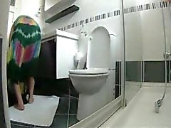 Great view of my mature mom in toilet. Hidden cam
