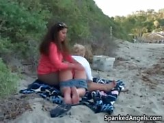 teen spanking beach fetish slapping