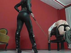 femdom high heels latex mistress spanking