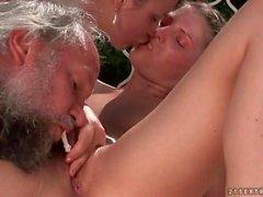 threesome grandpa outdoors