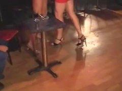 blonde strippers muscles blowjob threesome