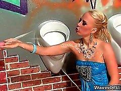 babe blonde blowjob bukkake