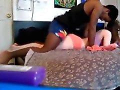dorm room interracial couple having fun