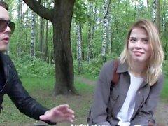 amateur blonde outdoor public