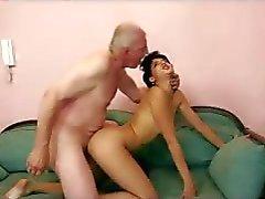 blowjob brunette grandpa hardcore