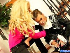 blonde brunette femdom hd lesbian