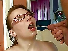 Grandpa fucking and pissing on naughty busty girl