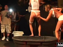 Sweet girls dance on the stage