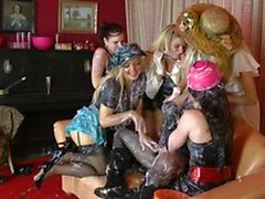All kind of sluts having lots of fun in a weird party