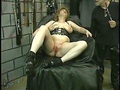 Hot blonde gets drilled with all kinds of toys on a table