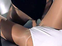 babe blonde lesbian pantyhose