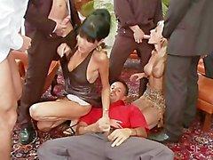 sarah twain group-sex bald-pussy blowjob