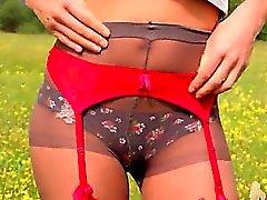 babe blonde lingerie nylon outdoor