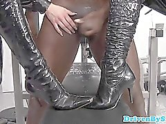 Femdom babes bbc slave cums on their boots