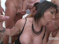 gangbang oral sex anal sex brunette