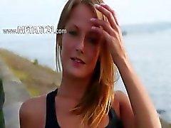 amatör strand brunett