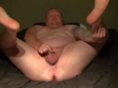 chubby-guy chubby-man pegging-his-ass pierced-cock