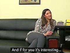 amateur brunette couch hardcore