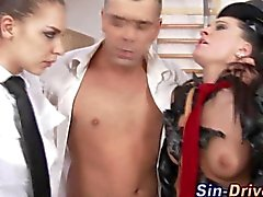 blowjob hardcore threesome brunette cfnm
