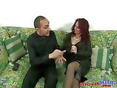 cheating cougar curly haired european facial