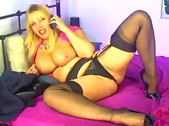 stockings high heels big tits blonde