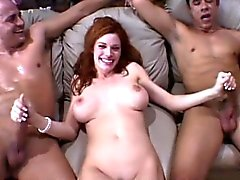 Delightful redhead wife has two hung boys fulfilling her sexual needs