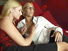 lesbians girlongirl blonde glasses office