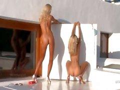 blonde high heels masturbation outdoor