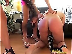 Hot Mistresses Play With Sex Toys And Their Slave