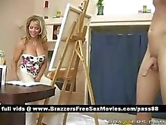 Busty blonde slut brings a guy gets him naked