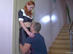 redhead cum-in-mouth russian medium-tits pantyhose