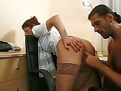 couple anal sex stockings office