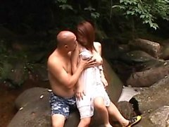 Tight asian juicy crack gets fingered and stuffed outdoors