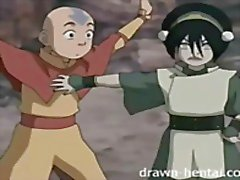 anime cartoon avatar aang toph