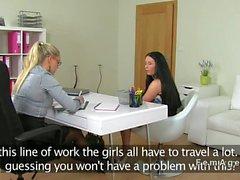 lesbica dilettante ufficio tribbing